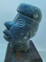 Belle tête Art africain, stéatite, 20ème siècle.