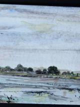 Peinture paysage, rivière et village sur une plaque de métal