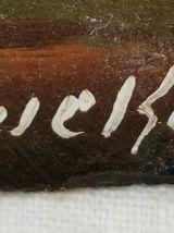 Huile sur tuile ancienne signée.