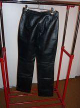 pantalon en cuir d'agneau noir doublure 100% polyester