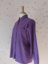 70s chemise oversize pois violet blanc
