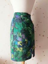 90 jupe crayon imprimé tropical vert violet XS