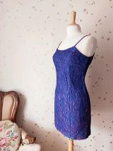 Vintage 80s robe bretelle dentelle violet bleu S