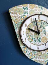 """Horloge vintage, pendule murale """"Bayard Vert Ocre Dorée"""""""