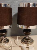 """lampes de chevet """"space age"""" marron et chromé"""