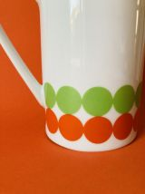 PICHET/POT A LAIT POP EN PORCELAINE À POIS VERT/ ORANGE DES