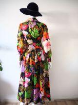 Longue robe en voile bohème folk hippie vintage 70's