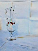 Vase crystal incrusté pierres rouges, fait à la main