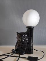lampe chouette en céramique noire et globe en opaline
