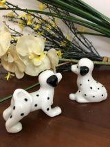 2 petits dalmatiens en faience - Vintage