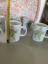 6 mugs en grès poisson