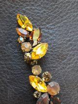 Boucles d'oreille clip fantaisie  Cristaux jaunes et bruns