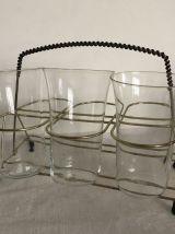 Porte-verres vintage, métal et scoubidou