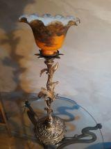 grand lampe art deco , tulipe pate de verre, art nouveau en