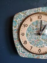 """Horloge vintage, pendule murale """"Plumes de Paon"""""""