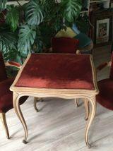 """Table de jeu """"Le Baiser à la reine"""" + ses 4 fauteuils Bridge"""