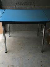 Table en formica bleu années 60