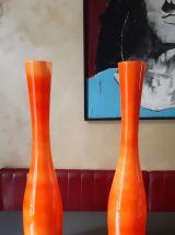 Paire de grands vases tubulaires