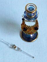 """Flacon à parfum """" Egyptien"""" verre soufflé et doré or fin."""