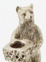 Bougeoir  ours en métal