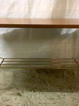 Table basse moderniste bois et métal – années 60