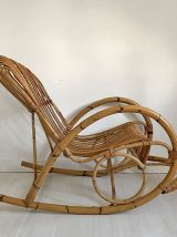 Rocking chair en rotin vintage 60's