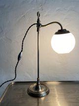 ANCIENNE LAMPE DE BUREAU MONTE ET BAISSE OPALINE VINTAGE