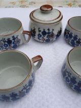 Service à Thé ou café en grès, 4 tasses, sucrier,
