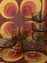 Lot 6 verres ou coupelles verre ambré années 70