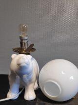 lampe ours en céramique et opaline