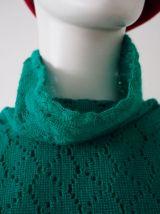 Robe pull en maille ajourée verte vintage 60's 70's