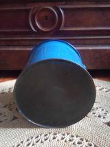 Ancien seau d'aisance émaillé bleu - Années 50