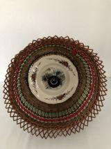 Suspension osier et ruban vintage