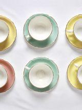 6 tasses et sous tasse colorées pastel
