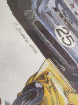 "affiche ""grand prix de l'âge d'or"" encadrement métal bleu"