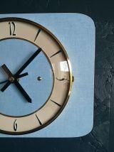 """Horloge vintage, pendule murale """"Bleu Ciel Doré"""""""