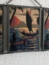 Miroir vintage 1940 triptyque barbier bateau - 16 x 37