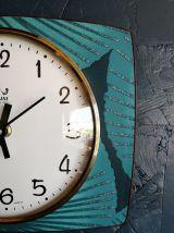 """Horloge vintage, pendule murale """"Jaz Bleu Vert"""""""