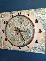 """Horloge vintage, pendule murale """"Vert Ocre Doré"""""""