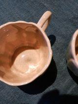 10Tasses à thé ou café faïence Charolles façon craquelé écru