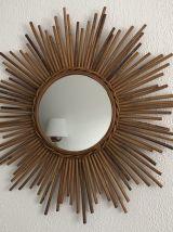 Miroir vintage 1960 soleil rotin osier - 68 cm