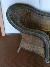 grand fauteuil vintage osier de couleur