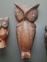lot de 3 hibous , chouettes en bois sculpté