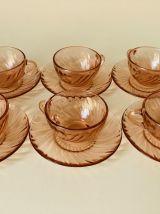 6 TASSES A CAFÉ ARCOROC EN VERRE ROSALINE