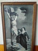Cadre ancien du christ sur sa croix