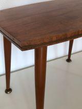 Table vintage 1960 basse anglaise bois laiton - 50 x 32 cm