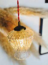 Lampe baladeuse tulipe verre bulles - Circa 70