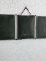 Miroir vintage 1930 triptyque barbier vert bouteille