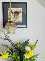 Lampe baladeuse vintage/ suspension globe ambré, dôme laiton