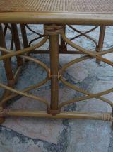 3 tables basses en bambou et rotin encastrables années 70